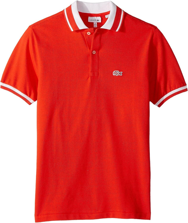 33d607d9c Amazon.com  Lacoste Kids Baby Boy s Short Sleeve Candy Stripe Croc Polo  (Infant Toddler Little Kids Big Kids) Fusion White 6  Clothing