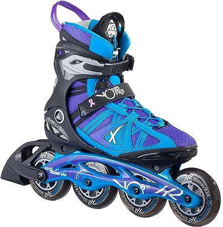 K2 Skate Women's Vo2 90 Pro Inline Skates, Black/Blue/Purple, 7