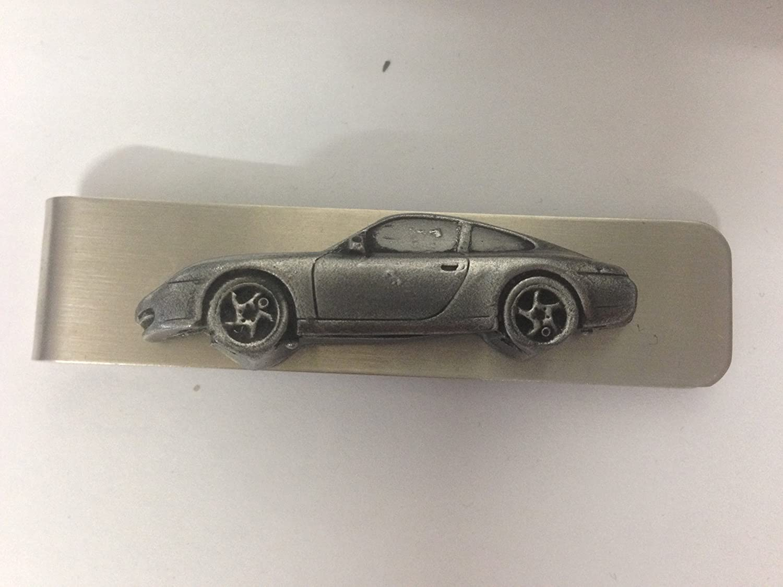 Stainless steel money clip with a Porsche 911 (Type 996) 3D pewter effect emblem ref195 prideindetails