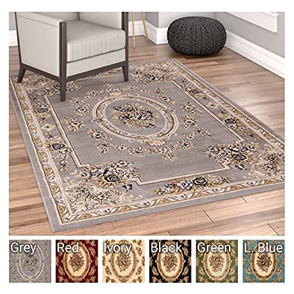 Pastoral Medallion Grey French Area Rug European Formal Traditional 4 X 5