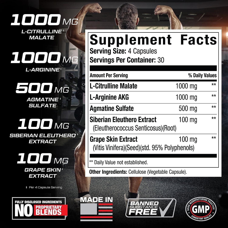 Nitric Oxide Pump+ - Powerful Nitric Oxide Supplements - Pre Workout with L  Arginine, Citrulline