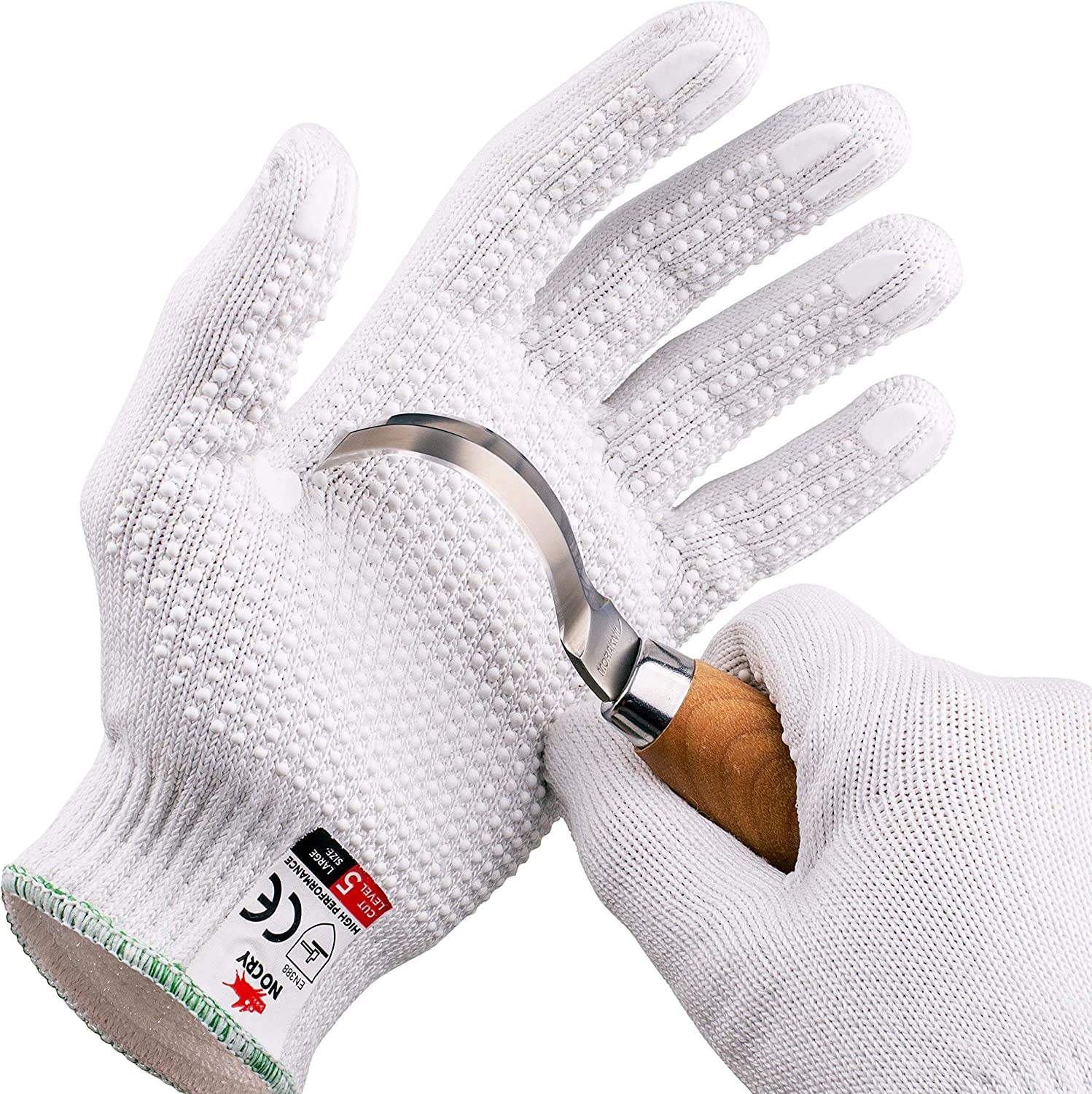 NoCry Cut Resistant Protective Work Gloves with Rubber Grip Dots. Tough and Durable Stainless Steel Material, EN388 Certified. 1 Pair. White, Size Medium - -
