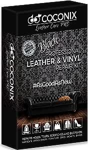 Coconix Kits de reparación de Cuero Negro para sofás - Kit de reparación de tapicería y Vinilo para Asientos de automóviles, sofás y Muebles - Fórmula de Relleno de rayones líquidos