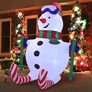 Joiedomi Christmas Inflatable Decoration 6 FT Sport Snowman Inflatable with Build-in LEDs Blow Up Inflatables for Xmas Party Indoor, Outdoor, Yard, Garden, Lawn Winter Decor.