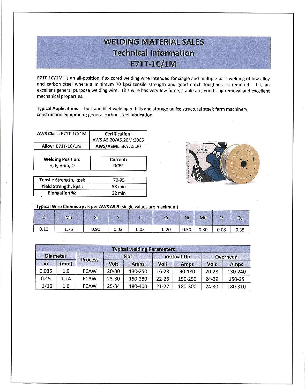 Blue Demon E71T-1//1M X .035 X 33LB Spool gas shielded flux core welding wire E71T1-PLUS-035-33
