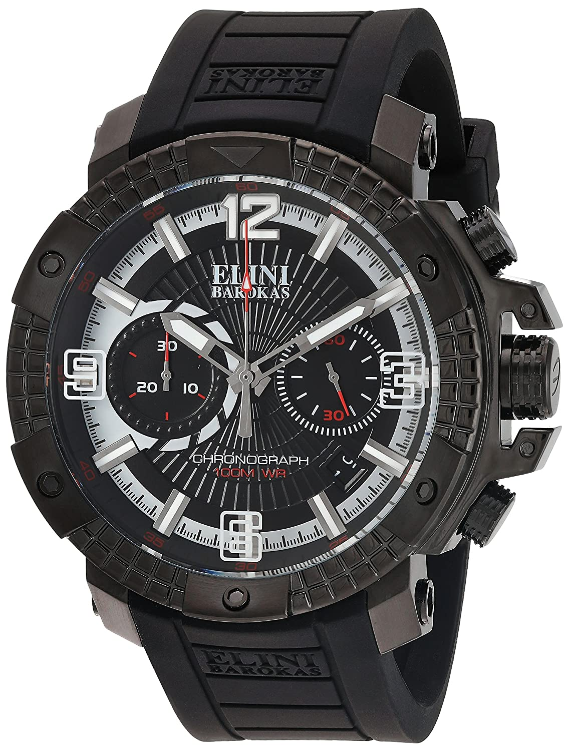Amazon.com: Elini Barokas Men's 'Arena' Swiss Quartz Stainless Steel and  Silicone Watch, Color:Black (Model: 20033-BB-01): Watches