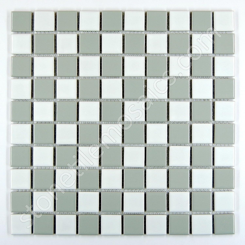 Square checkered tile grey white porcelain mosaic shiny look 1 1 square checkered tile grey white porcelain mosaic shiny look 1 18 x 1 18 ceramic tiles amazon dailygadgetfo Gallery