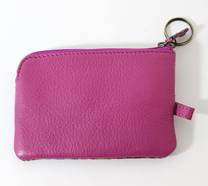 Authentic Islay Tweed Small Coin Purse with Key Case in a Traditional Pink Design