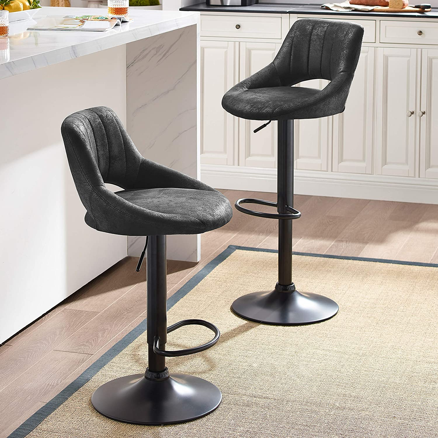 Art Leon Modern Retro PU Leather Adjustable 360 Swivel BarStools Chair Set of 2 with Open Backrest Black Powder Coated Gas Lift and Footrest Black