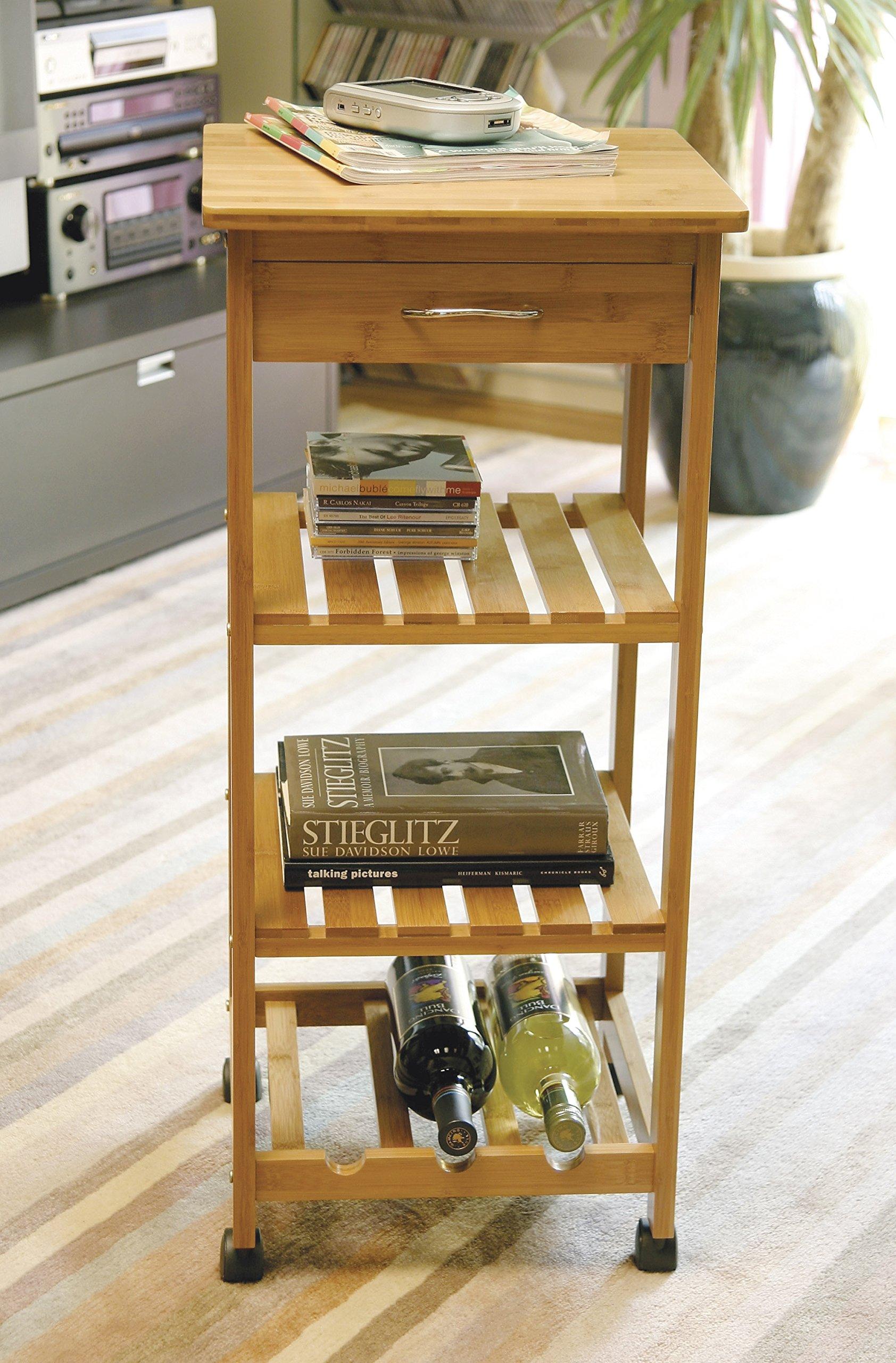 Lipper International 8914 Bamboo Wood Space-Saving Cart with 1 Drawer, 14.5'' x 14.5'' x 33.5'' by Lipper International (Image #4)