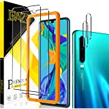 [2+2 Pack] BAZO Screen Protector Tempered Glass + Camera Lens Protector for Huawei P30 [Easy Installation Frame] [Bubble Free