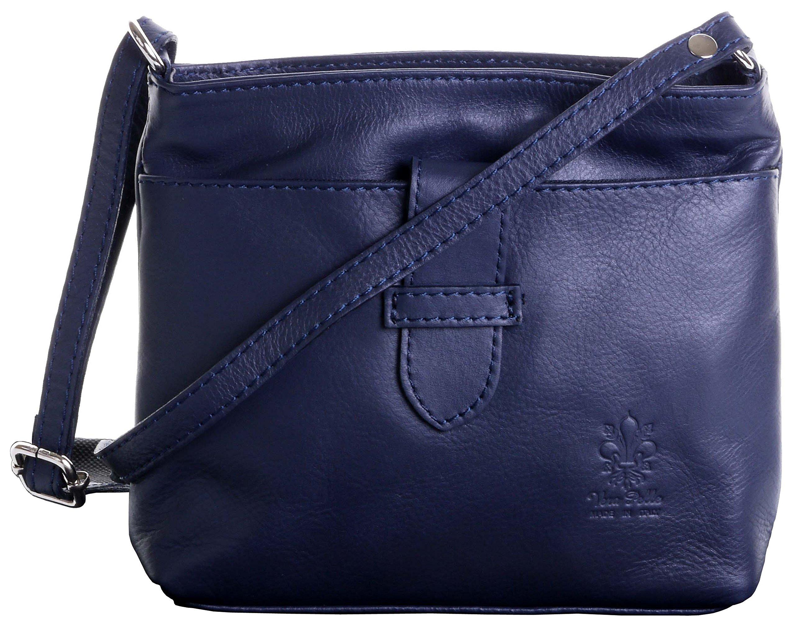 Primo Sacchi Italian Soft Leather Small Navy Blue Adjustable Strap Cross Body Shoulder Bag