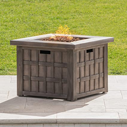 Greal Deal Furniture Lillian Outdoor Brown 32 Inch Square Fire Pit   40,000  BTU