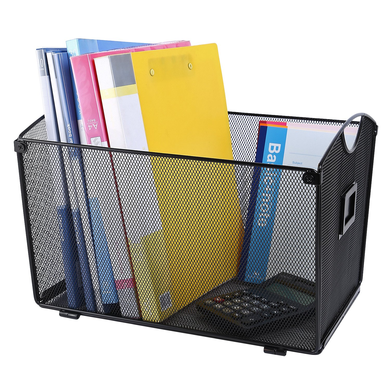 CRUODA Mesh Desktop Tub File Sorter Tray Organizer, Black, for Documents, Magazines, Notebooks