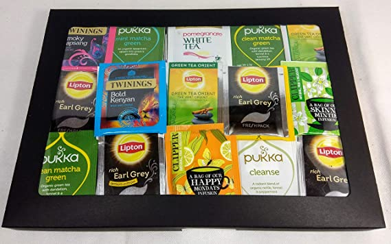 Caja de té negro con 50 bolsitas de té, 50 sabores. Twinings, Clipper, Lipton y exprimidor de bolsitas de té de acero inoxidable. Regalo perfecto.: Amazon.es: Alimentación y bebidas