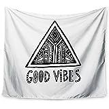 "KESS InHouse Vasare Nar ""Good Vibes"" White black Wall Tapestry, 68"" X 80"""""