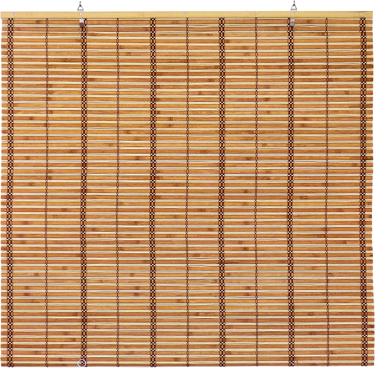 "ORIENTAL Furniture Burnt Bamboo Cordless Window Shade - Two-Tone Honey 36"" W"