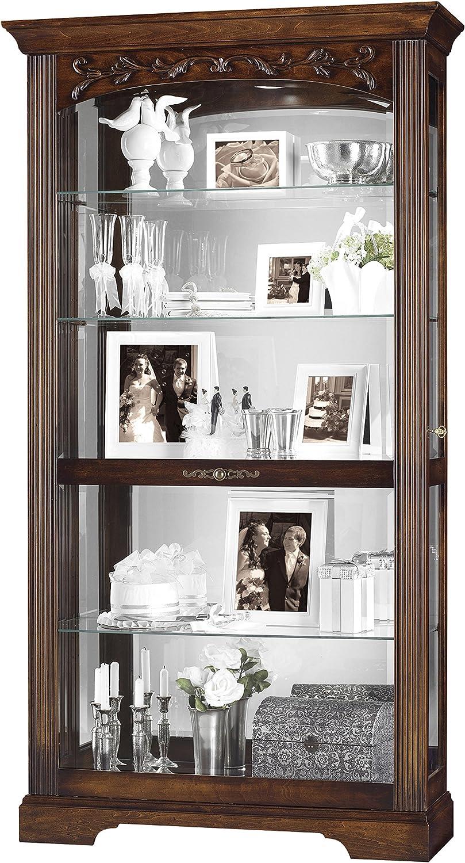 Howard Miller Chamberlain Curio Cabinet 547-176 – Hampton Cherry Finish, Heavily Distressed, Glass Shelves, Five Level Display Case, Locking Slide Door, Halogen Light Switch