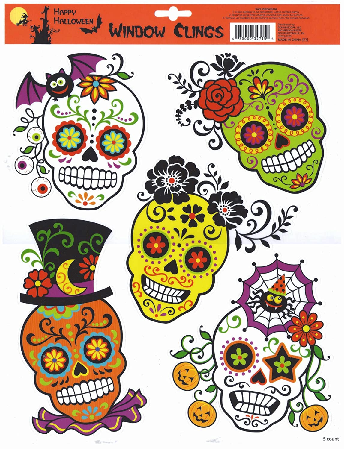 halloween window clings skulls cholo day of the dead designs - Halloween Window Clings