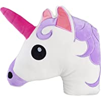 Kreative Kraft Unicorn Emojy Head Pillow Cushion Soft Cuddly Plush 31cm x 31cm | Soft Pillow Case Filled Padded Stuffed Cushion Bedding | Perfect Unicorn Gift