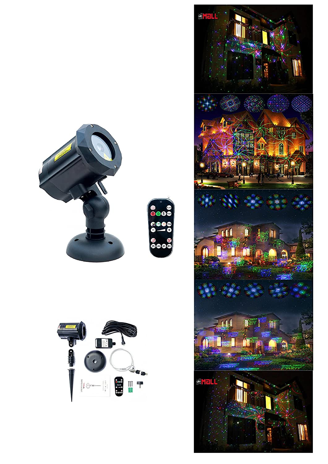 LedMAll® Motion Pattern Firefly 3 Models in 1 with18 Patterns RGB Outdoor Laser Garden and Christmas Lights with RF Remote Control and Security kit