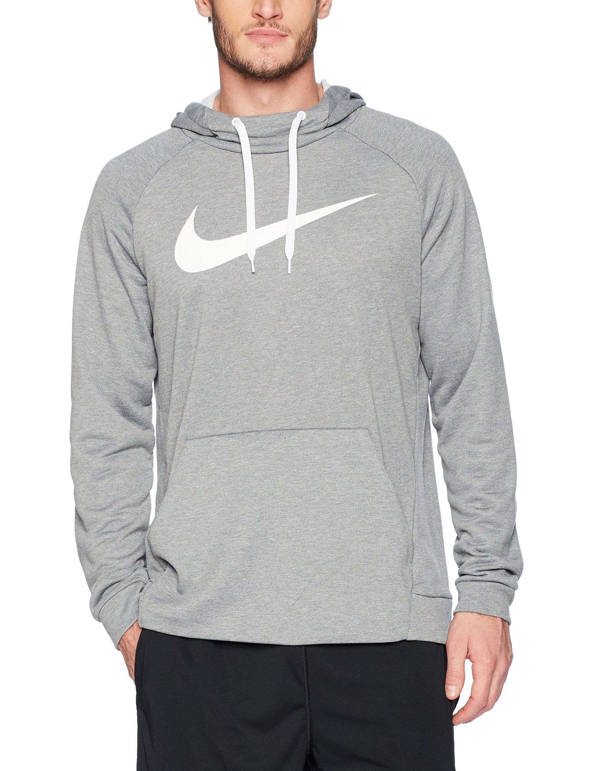 NIKE Men's Dry Pullover Swoosh Hoodie, Carbon Heather/White, Medium