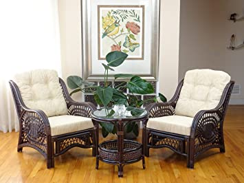 Malibu Rattan Wicker Living Room Set 3 Pieces Dark Brown Coffee Table 2  Lounge Chairs w/Cream Cushions