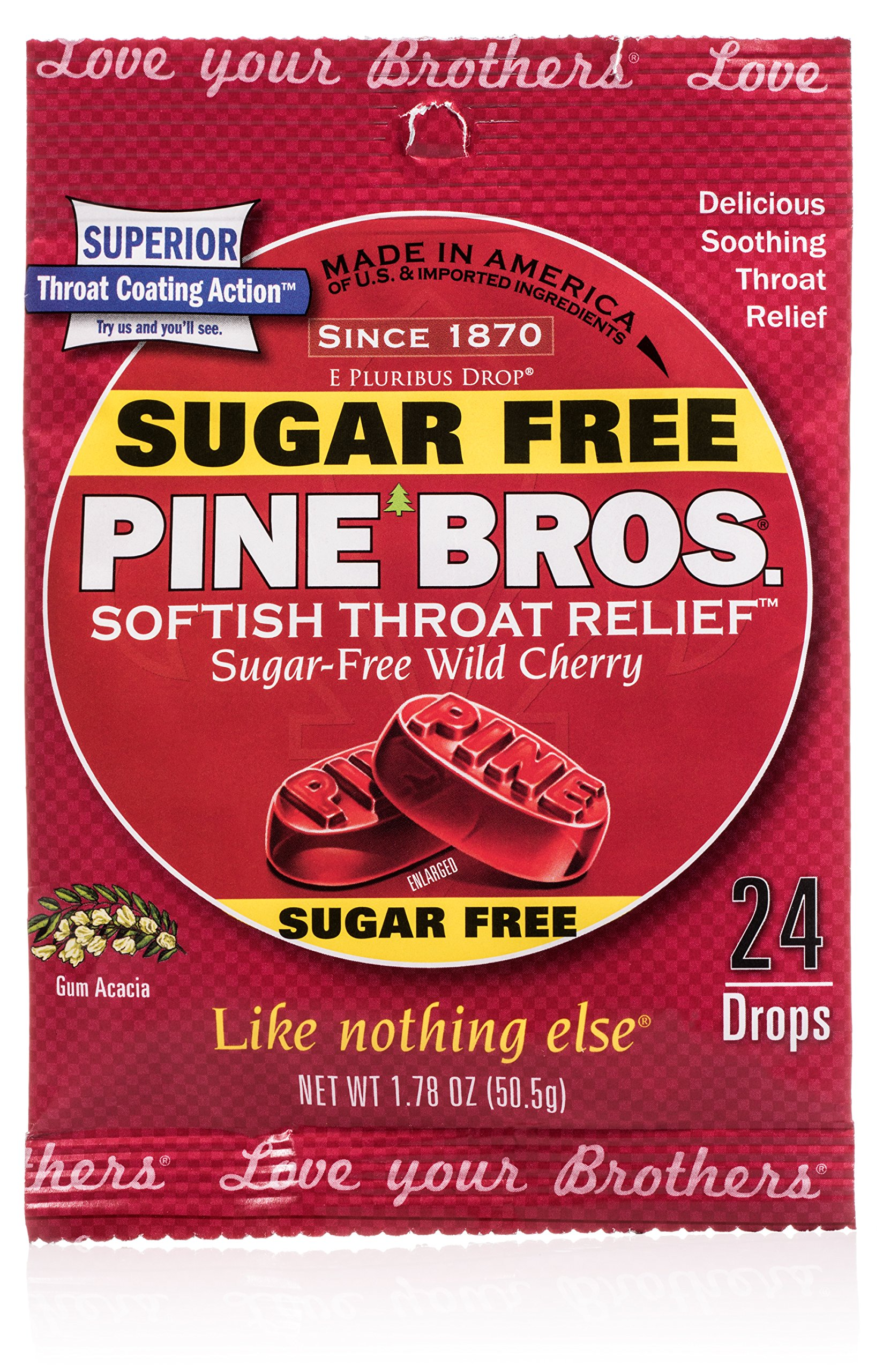 Pine Bros Sugar Free Cherry Throat Drops, 32 Count (Pack of 72) by Pine Bros.