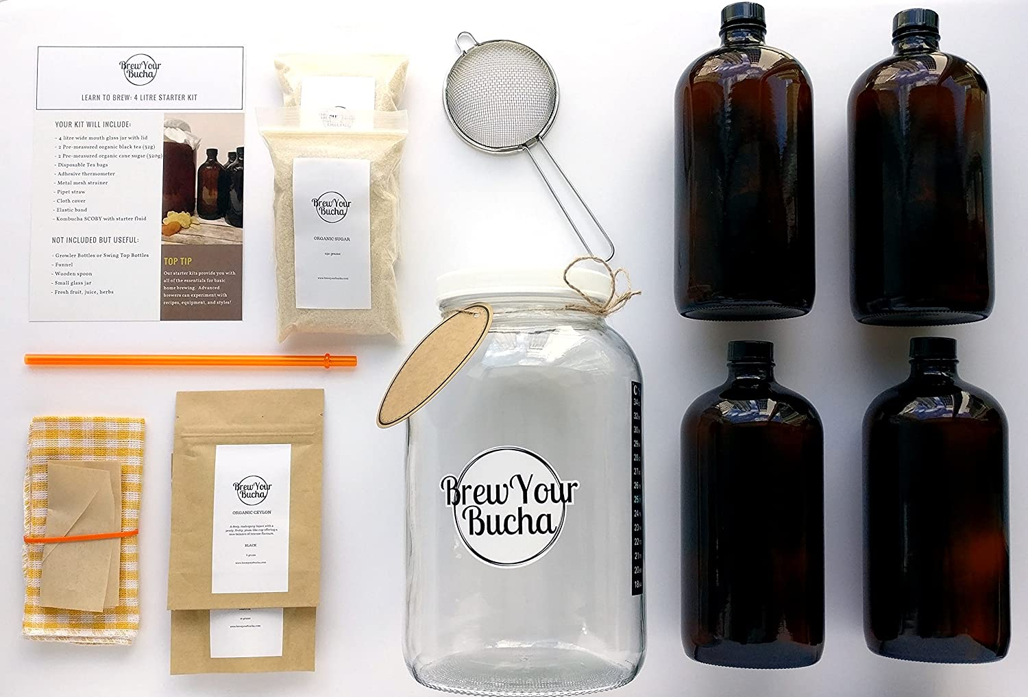 Complete Organic Kombucha Homebrew 4 Litre Deluxe Starter Kit for 2 Brews. with Instructional Videos, Recipes, Interactive Forum, and Live Chat Assistance. Brew Your Bucha