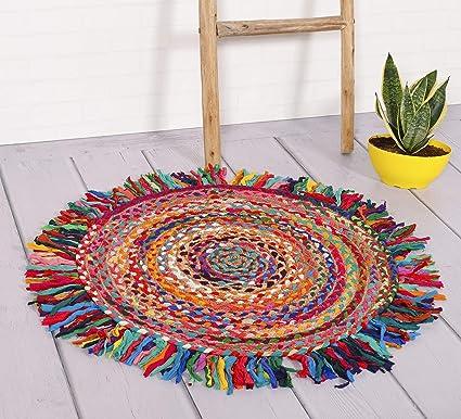 HANDCIRAFT-Palace Jute Door Mats with Fringes Area Rug Cotton Floor Mat Handmade 100% Jute Rug Round Fringes Mat (Multicolor)