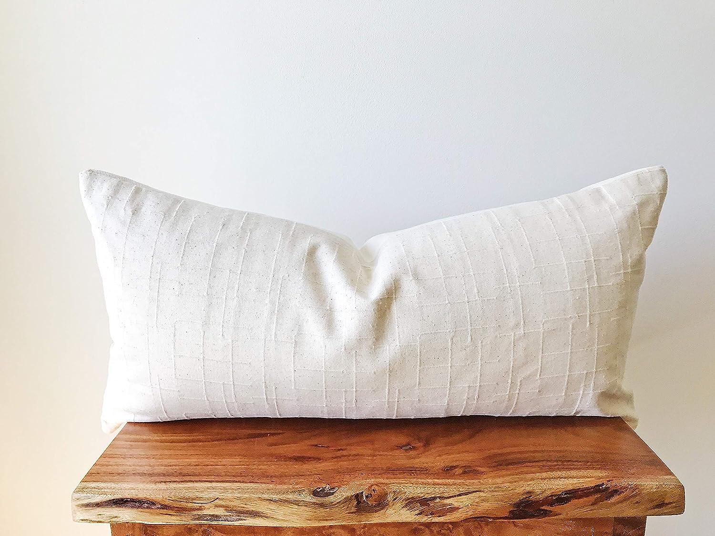 Amazon Com Cream Rectangular Lumbar Pillow Cover 12 X24 Chiangmai Tribal Cotton Handmade