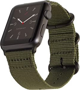 Carterjett Compatible with Apple Watch Band 42mm 44mm Nylon Olive iWatch Bands Replacement Strap Durable Dark Gray Adapters Military-Style Buckle for Series 6 & SE Series 5 4 3 2 1 (42 44 S/M/L Army Green)
