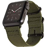 Carterjett Compatible Apple Watch Band 42mm 44mm Nylon Olive iWatch Band Replacement Strap Durable Dark Gray Adapters NATO Buckle Compatible Apple Watch Series 4 Series 3 2 1 (42 44 S/M/L Army Green)