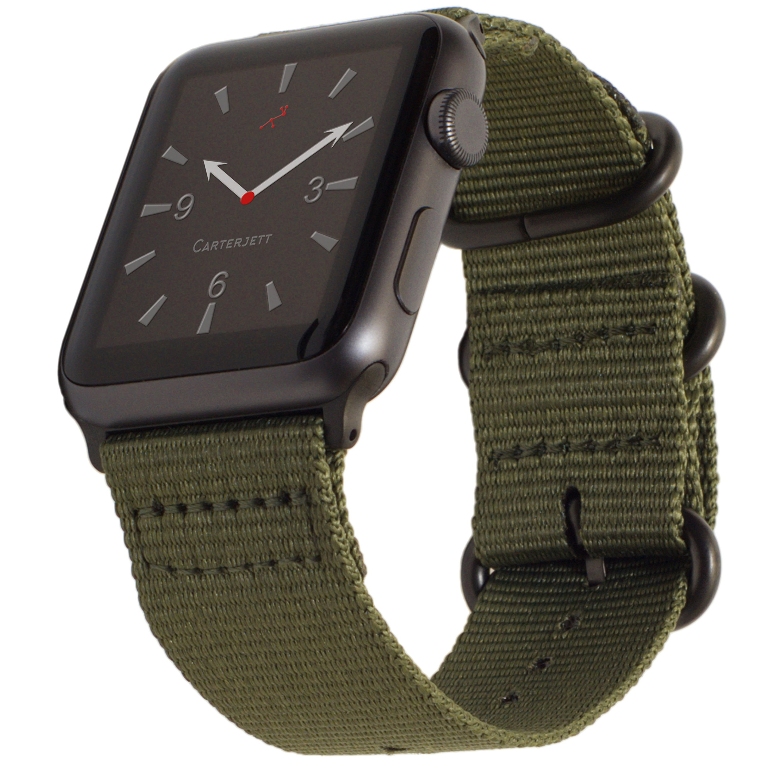 Carterjett Compatible with Apple Watch Band 42mm 44mm Nylon Olive iWatch Bands Replacement Strap Durable Dark Gray Adapters NATO Buckle for Series 4 Series 3 2 1 (42 44 S/M/L Army Green) by Carterjett