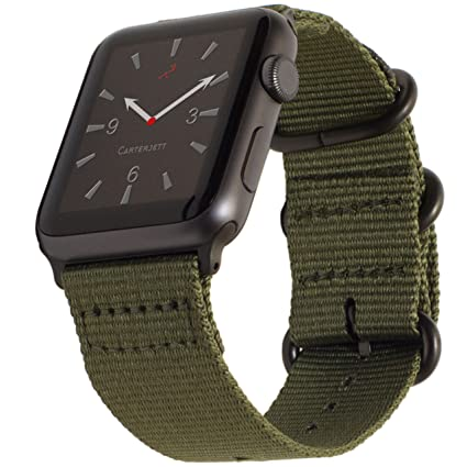 Carterjett Compatible with Apple Watch Band 42mm 44mm Nylon Olive iWatch  Bands Replacement Strap Durable Dark Gray Adapters NATO Buckle for Series 5  ...