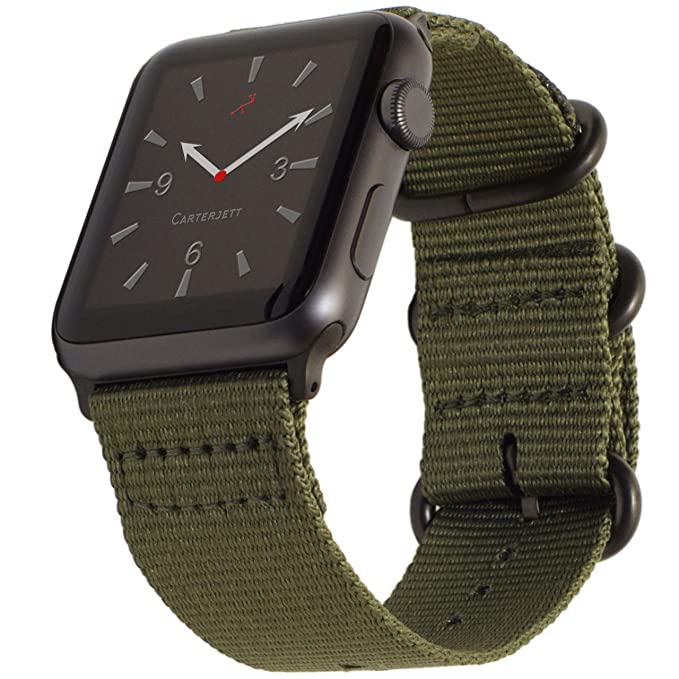 b6163bc4259 Carterjett Compatible Apple Watch Band 42mm 44mm Nylon Olive iWatch Band  Replacement Strap Durable Dark Gray