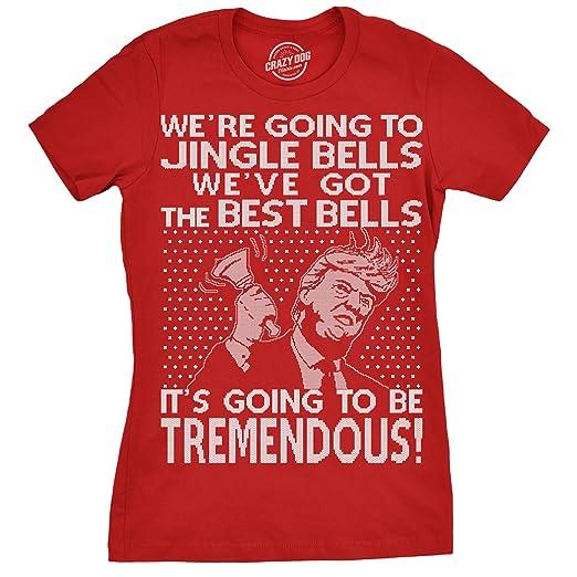1a67aeb8 Womens Jingle Bells Trump Tshirt Funny Political Christmas Tee for Ladies  -S Red