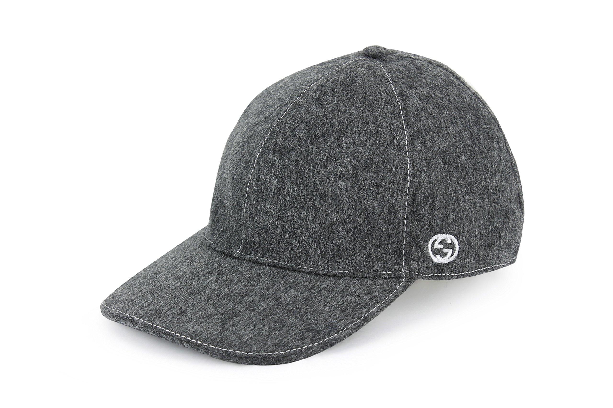 Gucci Wool Signature Web Stripe Baseball Cap, Charcoal 353505 (M (Medium))