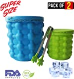 Extra Large + Small Ice Cube Maker Genie with Ice Tongs, Silicone Mold Dual-use Ice Bucket with Lid Space Saving Ice Cube Makers 2 PACK for Almost All Bottles Possible and More Chilling Opportunity