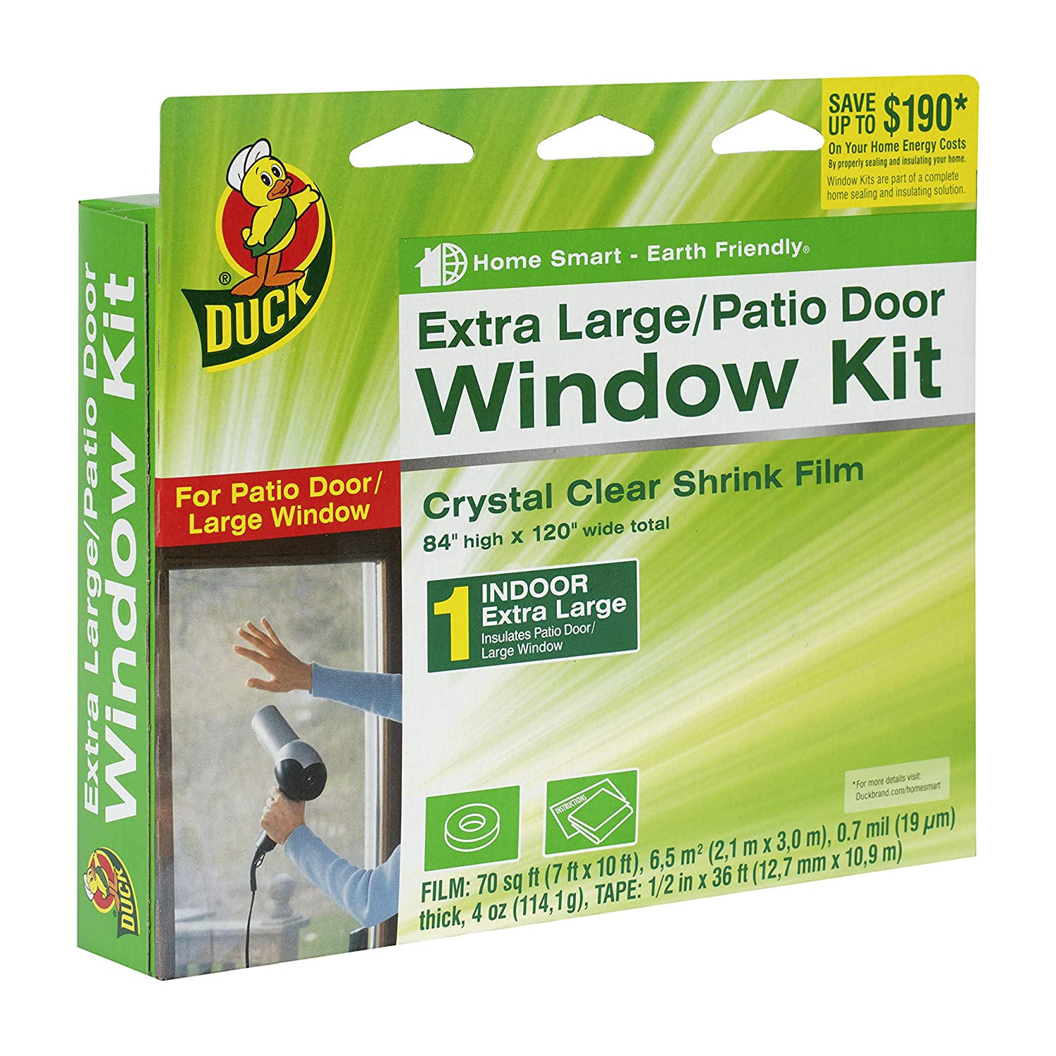 Duck Brand 282450 Indoor Extra Large Window/Patio Door Shrink Film Kit,  84 Inch X 120 Inch   Weatherproofing Window Insulation Kits   Amazon.com