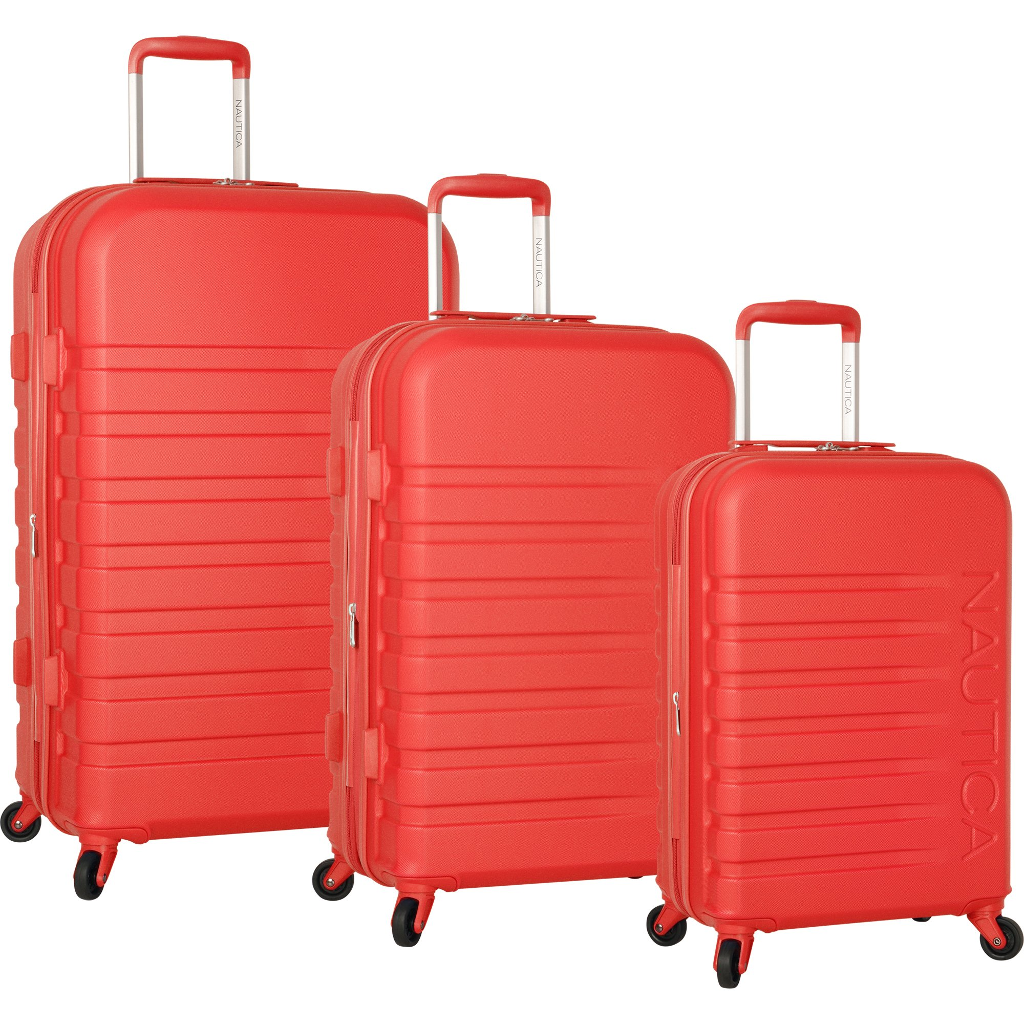 Nautica Henderson Harbor 3 Piece Hardside Expandable Suitcase Set, Cherry Red by Nautica