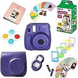 Fujifilm Instax Mini 8 Film Camera (Grape) + Instax Mini Film (20 Shots) + Protective Camera Case + Selfie Lens + Filters + Frames Photix Decorative Design Kit