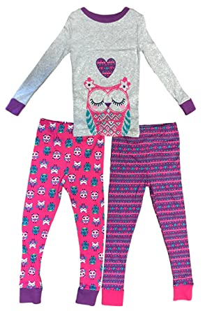 39afe252f40a Amazon.com  Kirkland Signature Girl s 3-Piece Pajama Set (Owls Pink ...