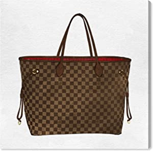 """The Oliver Gal Artist Co. Fashion and Glam Wall Art Canvas Prints 'Royal Handbag Chocolate' Home Décor, 36"""" x 36"""", Brown, White"""