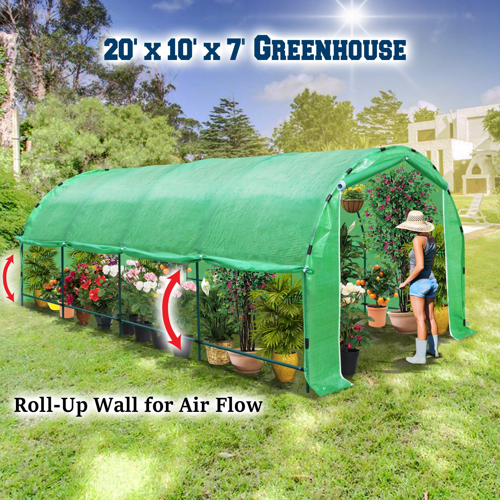 BenefitUSA Large Portable 20' X10' X 7' Walk in Plant Gardening Green House with ABS Snap Clamp Greenhouse