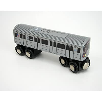 Munipals Wooden Railway NYC Subway Car L: Toys & Games