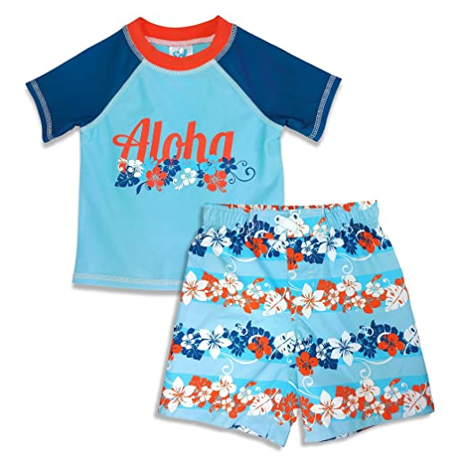 01c86352c0 Amazon.com: Sol Swim Under The Sea Little Boys Rash Guard Swim Set 2pc  Multi Color 2T-4T Light Blue: Clothing