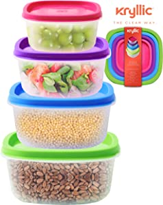 Plastic Food Storage Containers Lids - Clear Kitchen stackable pantry bucket nesting organizer upright freezer for cereal dry food sugar pasta bpa free set of 4 sizes leak proof airtight easy use