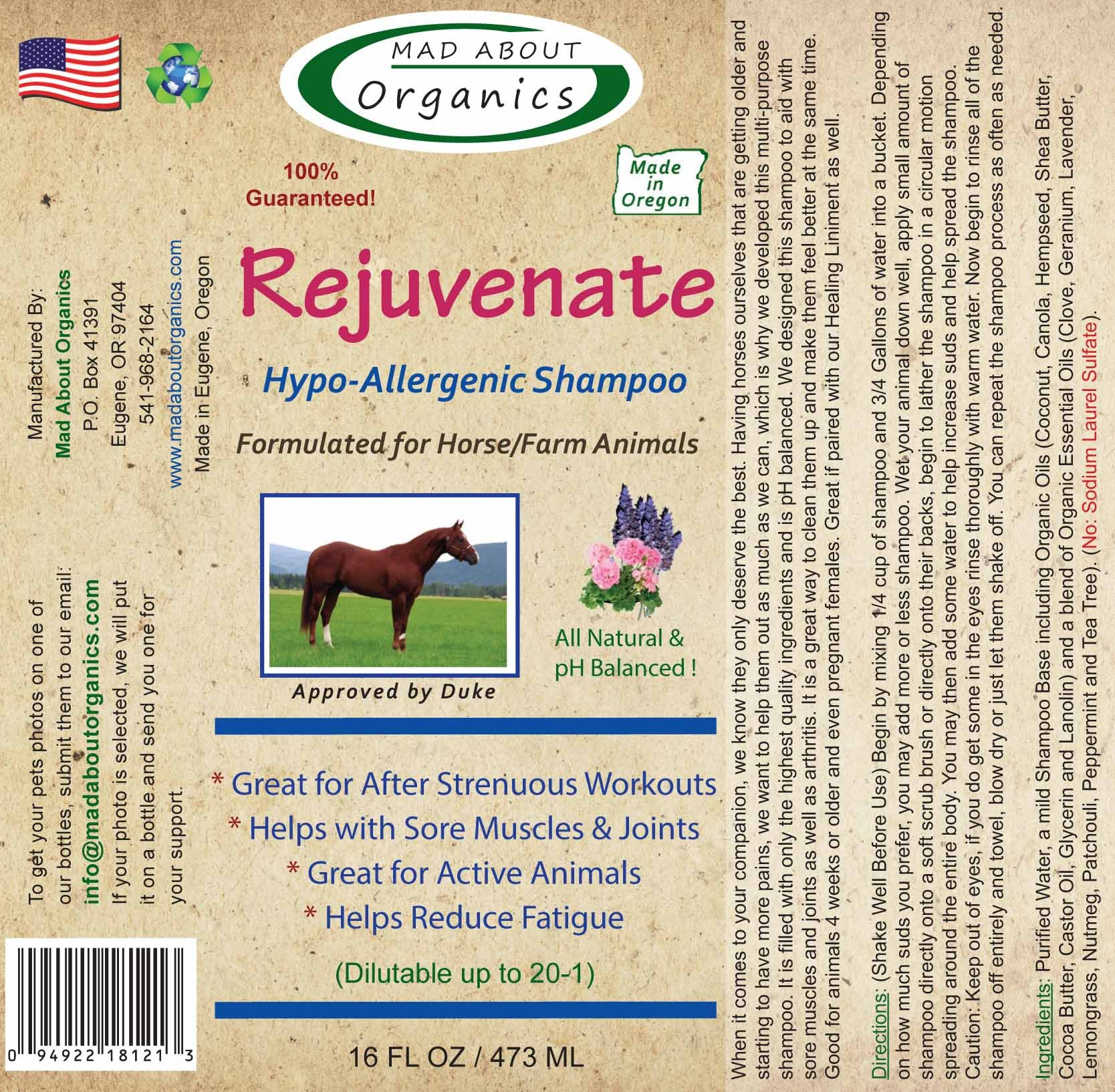 Mad About Organics All Natural Horse/Farm Animal Rejuvenate Hypo-Allergenic Shampoo 16oz by Mad About Organics (Image #2)
