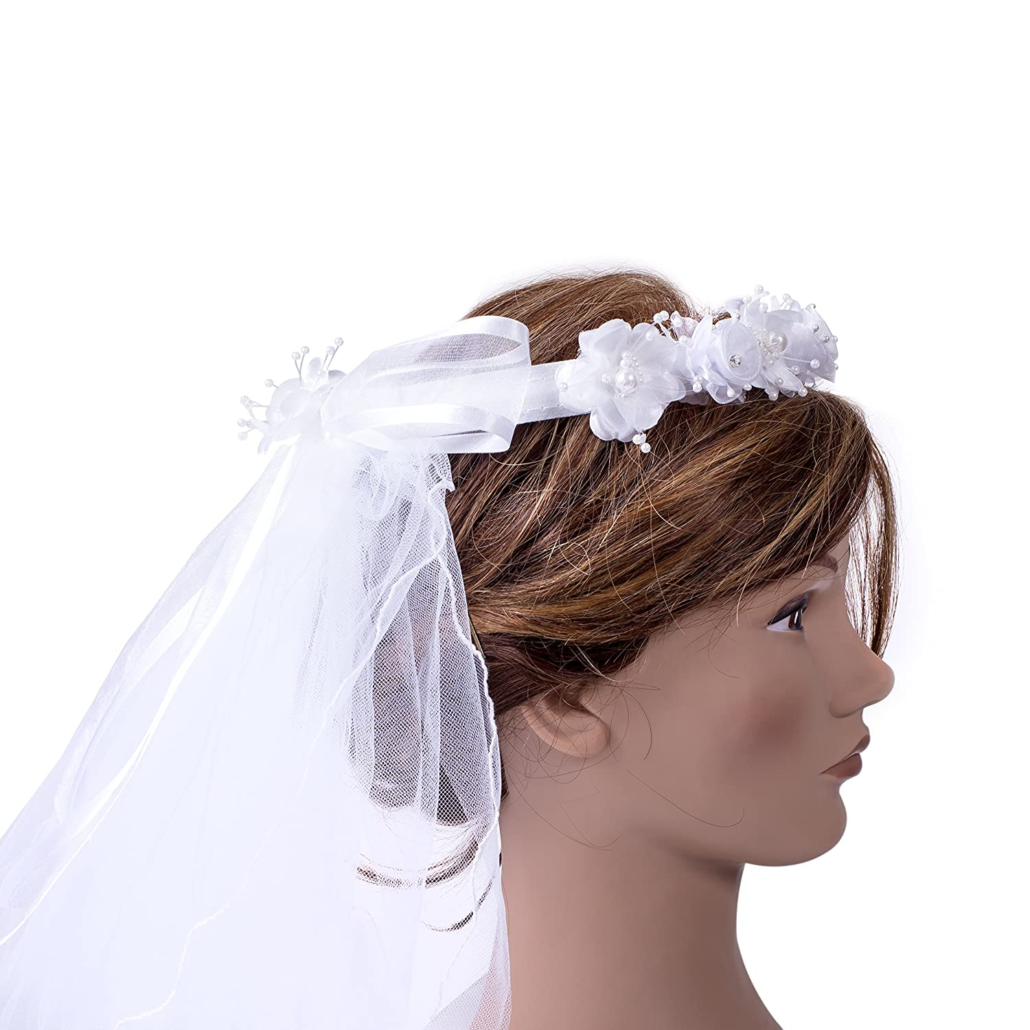 First Holy Communion White Tulle Veil With Pearl Crystal Flower